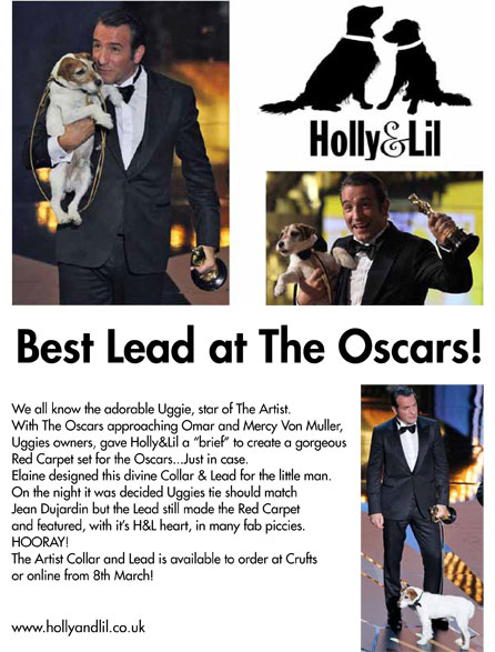 The Artist. A Red Carpet dog collar & the lead as worn by Uggie at the Oscars 2012. Exclusive to H&L - Holly & Lil Collars Handmade in Britain, Leather dog collars, leads & Dog harnesses.